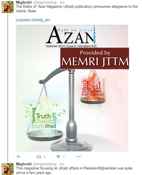Editor Of 'Azan' Magazine Joins Islamic State, Says: 'ISIS Does Not Declare The Takfir Of The General Masses Of The Muslims'; 'I Call On All Our Readers To... Strive Forth Collectively To Free Al-Quds [Jerusalem]'