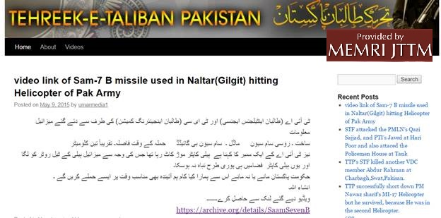 Tehreek-e-Taliban Pakistan (TTP) Video On Archive.org Shows Missile Used To Down Helicopter In Which Norwegian, Philippines Ambassadors Were Killed
